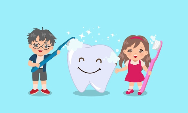 Cute boy and girl brushing a huge tooth with smiley face