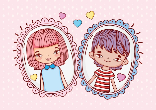 Cute boy and girl couple pictures with hearts