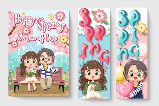 Coppie sveglie della ragazza e del ragazzo con i fiori nell'illustrazione di tema di primavera per le opere d'arte di moda dei bambini