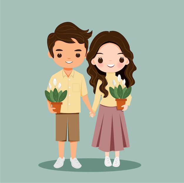 Cute boy and girl couple with plants cartoon character
