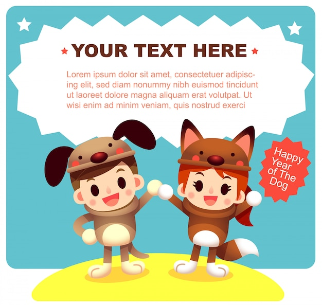 Cute boy and girl in dog costume greeting card
