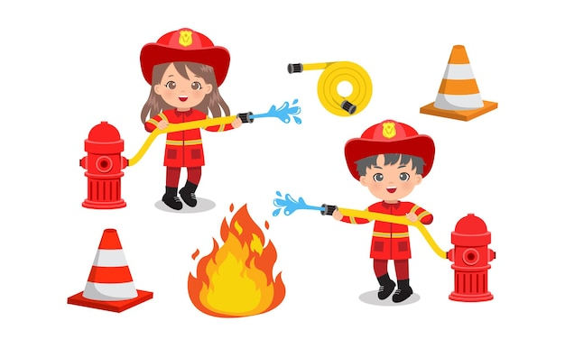 Cute boy and girl in fire fighter uniform extinguish flame with water hose. flat