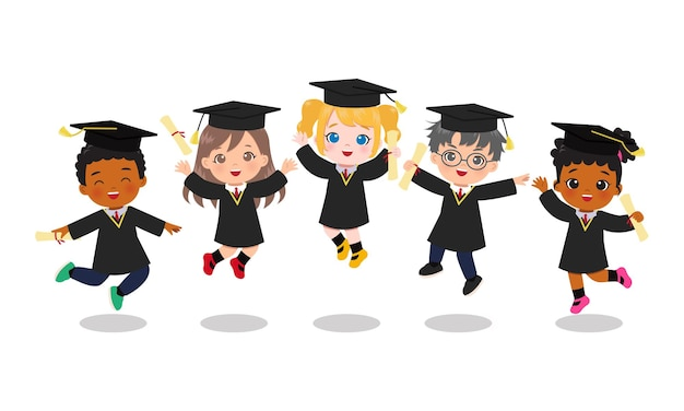 Cute boy and girl in graduation gown jumping together.