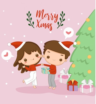 Cute boy and girl, merry christmas greeting card
