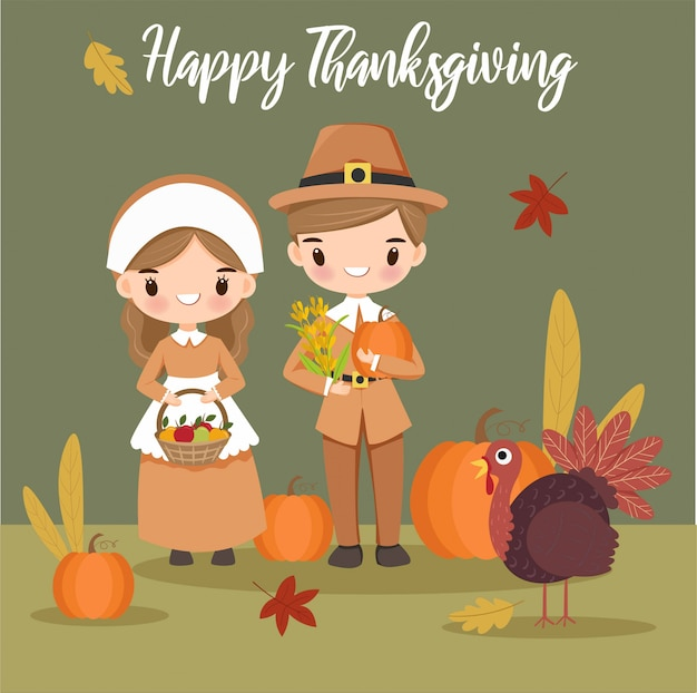 Cute boy and girl pilgrim havest plants for thankgiving day