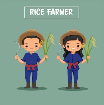 Cute boy and girl rice farmer cartoon character