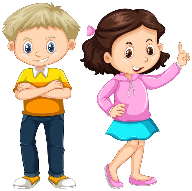 Cute boy and girl standing