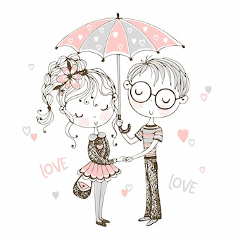 Cute boy and girl under umbrella. rendezvous.valentine.