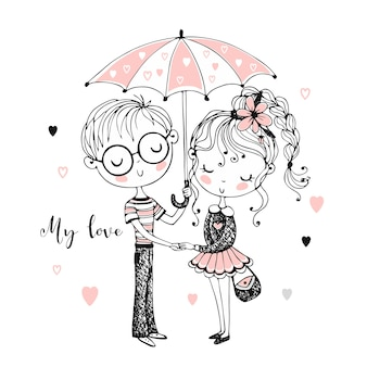 Cute boy and girl under umbrella. rendezvous.