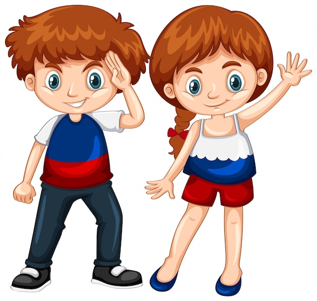 Cute boy and girl waving hands