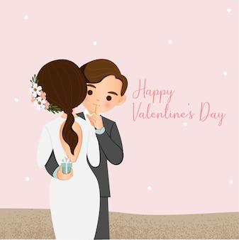 かわいい男の子がバレンタインデーに女の子に指輪を贈る
