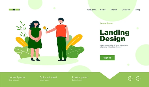 Cute boy giving flower to girl landing page in flat style