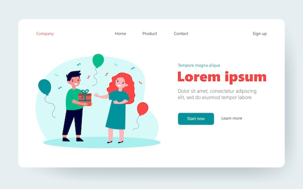 Cute boy giving gift to little girl. kid, present, box flat vector illustration. birthday celebration and holiday concept for banner, website design or landing web page