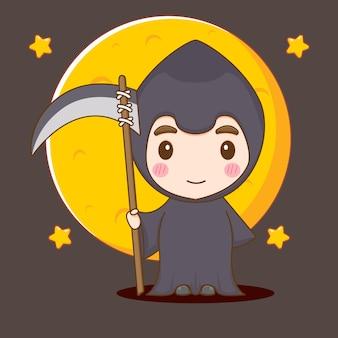 Cute boy in grim reaper costume chibi character illustration
