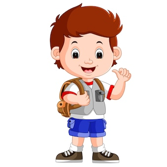 Cute boy on his way to school