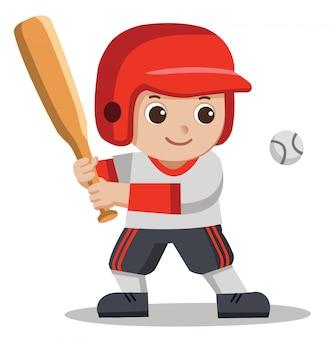 A cute boy hitting ball with wooden bat.