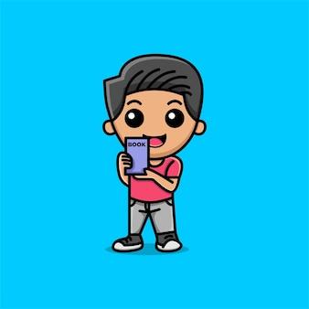 彼の手で本を持っているかわいい男の子漫画イラスト