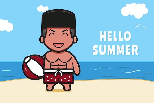 Милый мальчик держит мяч с летним приветствием баннер мультфильм значок иллюстрации