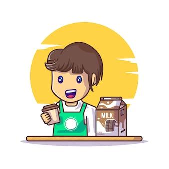 초콜릿 우유 만화와 함께 초콜릿 음료를 들고 귀여운 소년