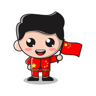 Cute boy holding flag of china cartoon illustration