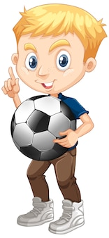 Cute boy holding football