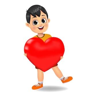 Милый мальчик держит символ сердца