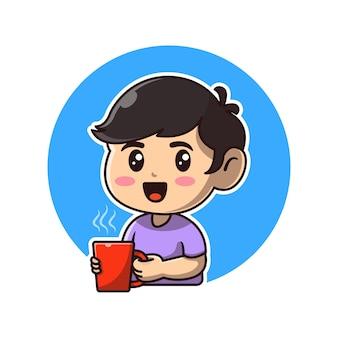 뜨거운 커피 만화 아이콘 그림을 들고 귀여운 소년입니다.