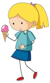 고립 된 아이스크림 콘을 들고 귀여운 소년