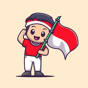 インドネシアの旗漫画ベクトルアイコンイラストを保持しているかわいい男の子。人々の休日のアイコンの概念は、プレミアムベクトルを分離しました。フラット漫画スタイル