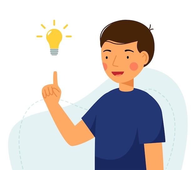 Cute boy holding lamp idea concept of generation ideas flat vector illustration