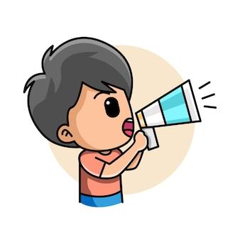 Cute boy holding a megaphone loudspeaker shouting announcing something cartoon illustration