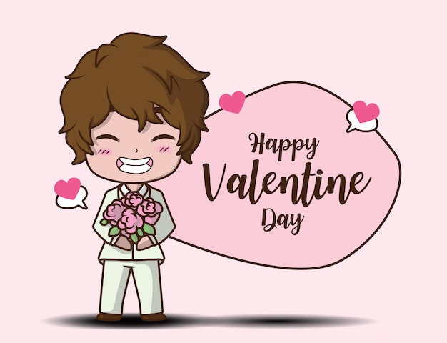 Cute boy holding rose and message happy valentine day
