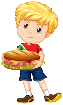 Cute boy holding sandwich