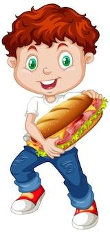 Cute boy holding sandwich