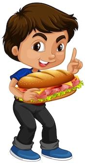 サンドイッチを保持しているかわいい男の子