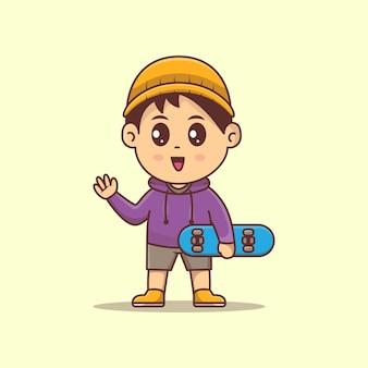 스케이트 보드 벡터 가와이이 일러스트를 들고 귀여운 소년 소년 스케이트 보드와 모자를 쓰고 만화 벡터