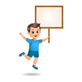 Cute boy holding wooden blank board