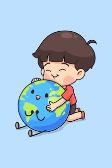 Cute boy hug the earth