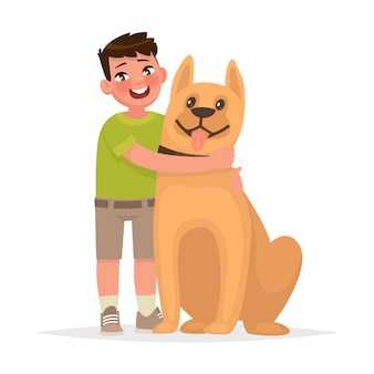 Cute boy hugging a dog on white