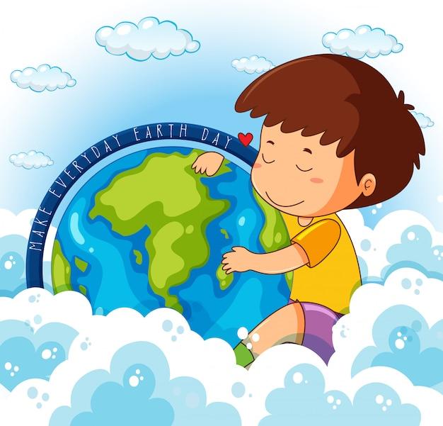 Cute boy hugging earth