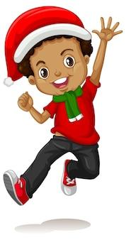 Милый мальчик в рождественском костюме мультипликационный персонаж