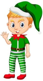 クリスマスの衣装の漫画のキャラクターのかわいい男の子