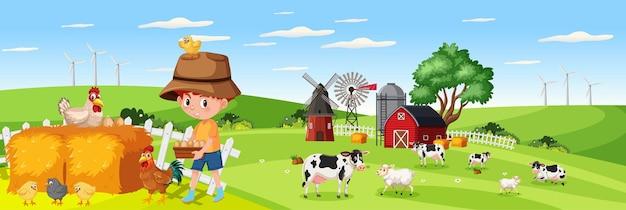 昼間の自然農場の水平風景シーンでかわいい男の子