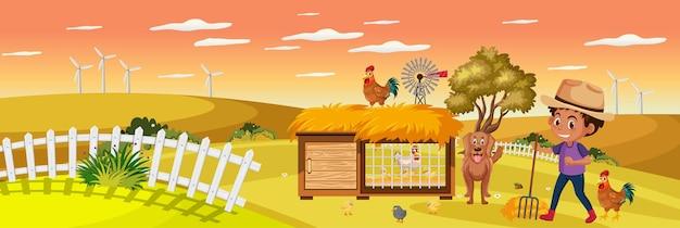 Милый мальчик на природе ферма горизонтальная пейзажная сцена во время заката