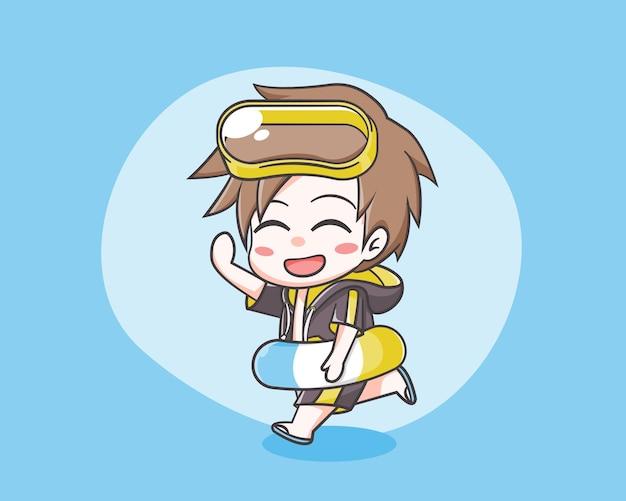 여름 만화 그림에서 귀여운 소년