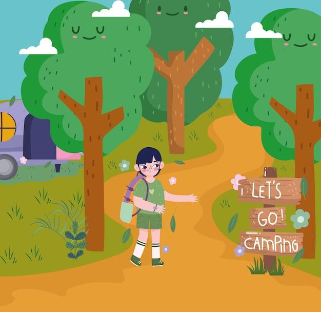 숲에서 캠핑 하는 귀여운 소년