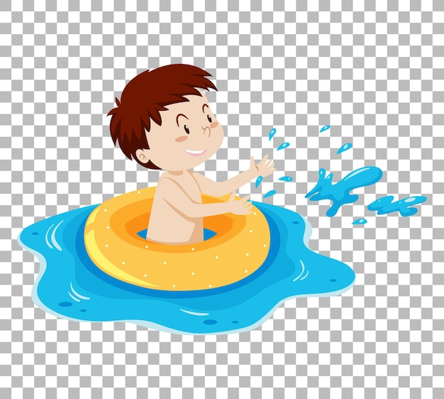 Cute boy in inflatable ring