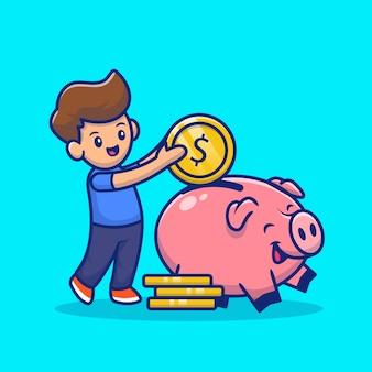 귀여운 소년 돼지 저금통 만화 아이콘 그림에 동전을 삽입합니다. 절연 돈 아이콘 개념 프리미엄입니다. 플랫 만화 스타일