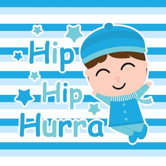 Cute boy is happy on striped background vector carton for kid postcard and wallpaper, t-shirt design for kid, vector illustration