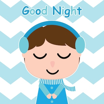 Cute boy is listening music on striped background vector carton for kid postcard and nursery wall, t-shirt design for kid, vector illustration